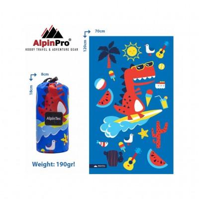 ALPINPRO TOWEL MICROFIBER DRYFAST KIDS CMS-L 2 BLUE DINO