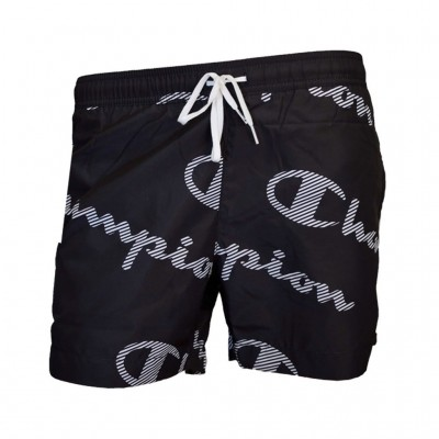 CHAMPION BERMUDA SWIMSUIT 214445 KL001 ΜΑΥΡΟ ΛΕΥΚΟ