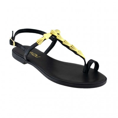 MAROLI SANDAL LEATHER 20698 ΜΑΥΡΟ