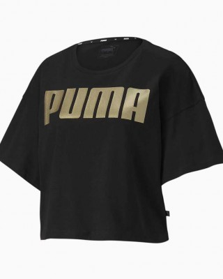 PUMA REBEL FASHION TEE 581308 51 ΜΑΥΡΟ ΧΡΥΣΟ