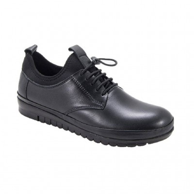 SAFE STEP LEATHER SNEAKERS 19301 ΜΑΥΡΟ