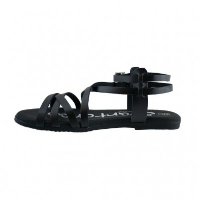 SPARTANAS LEATHER SANDALS 4542 ΜΑΥΡΟ