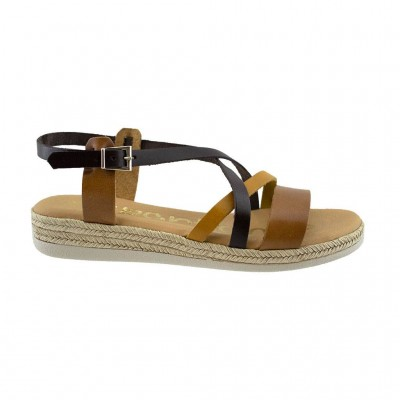 SPARTANAS LEATHER SANDALS 4556 ΤΑΜΠΑ ΚΑΦΕ