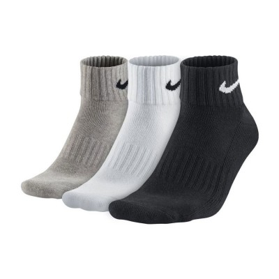 NIKE CUSHION QUARTER SOCKS 3 PAIRS SX4926 901 ΛΕΥΚΟ ΜΑΥΡΟ ΓΚΡΙ