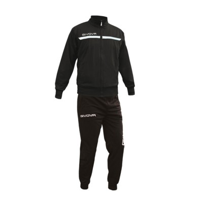 GIVOVA TRACKSUIT TUTA ONE FULL ZIP TT012 ΜΑΥΡΟ ΛΕΥΚΟ