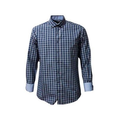 SANTANA SHIRT CASUAL SW 17638 BLUE ΜΠΛΕ ΚΑΡΩ