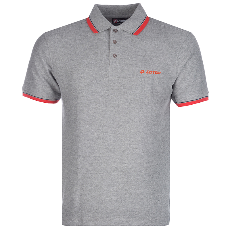 LOTTO POLO SHIRT S15LTAM040 GREY RED ΓΚΡΙ ΚΟΚΙΝΟ
