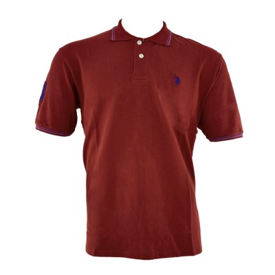 US POLO T SHIRT POLO BIGSIZES BORDAUX ΜΠΟΡΝΤΟ