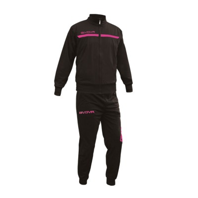 GIVOVA TRACKSUIT TUTA ONE FULL ZIP TT012 ΜΑΥΡΟ ΦΟΥΞΙΑ