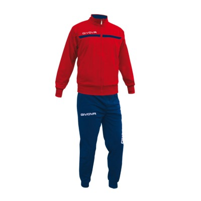 GIVOVA TRACKSUIT TUTA ONE FULL ZIP TT012 ΚΟΚΚΙΝΟ ΜΠΛΕ