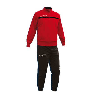 GIVOVA TRACKSUIT TUTA ONE FULL ZIP TT012 ΚΟΚΚΙΝΟ ΜΑΥΡΟ