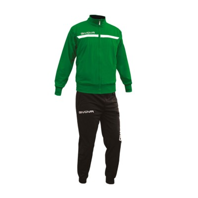 GIVOVA TRACKSUIT TUTA ONE FULL ZIP TT012 ΠΡΑΣΙΝΟ ΜΑΥΡΟ