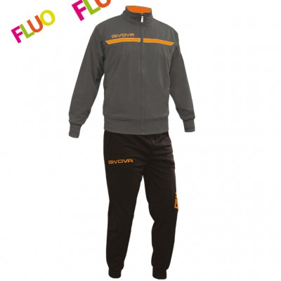 GIVOVA TRACKSUIT TUTA ONE FULL ZIP TT012 ΓΚΡΙ ΠΟΡΤΟΚΑΛΙ FLUO