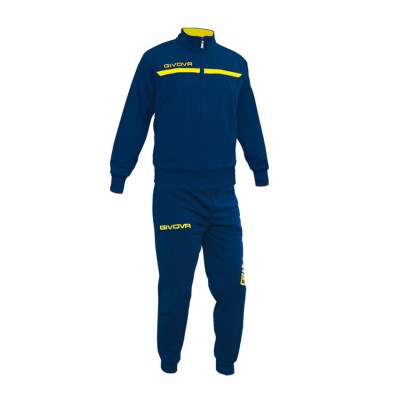 GIVOVA TRACKSUIT TUTA ONE FULL ZIP TT012 ΜΠΛΕ ΚΙΤΡΙΝΟ