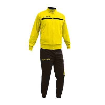 GIVOVA TRACKSUIT TUTA ONE FULL ZIP TT012 ΚΙΤΡΙΝΟ ΜΑΥΡΟ