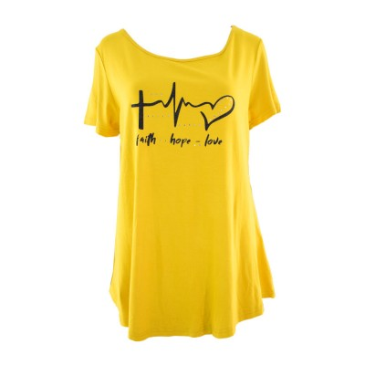 VERGI WOMAN T SHIRT MUSTARD BLACK HEART 308 ΚΙΤΡΙΝΟ