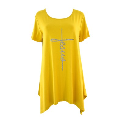 VERGI WOMAN T SHIRT MUSTARD CROSS 308 ΜΟΥΣΤΑΡΔΙ