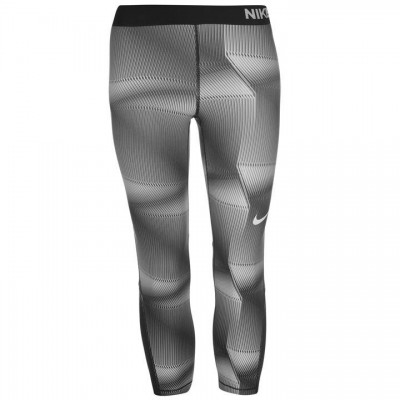 NIKE PRO GRAPHIC TIGHT CAPRI  BLACK GREY ΜΑΥΡΟ ΓΚΡΙ
