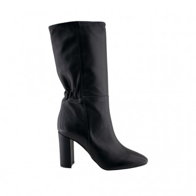 BIANCA DI BOOTS LEATHER C2530 ΜΑΥΡΟ